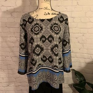 Elegant CATO Intricate Filigree-Patterned Blouse
